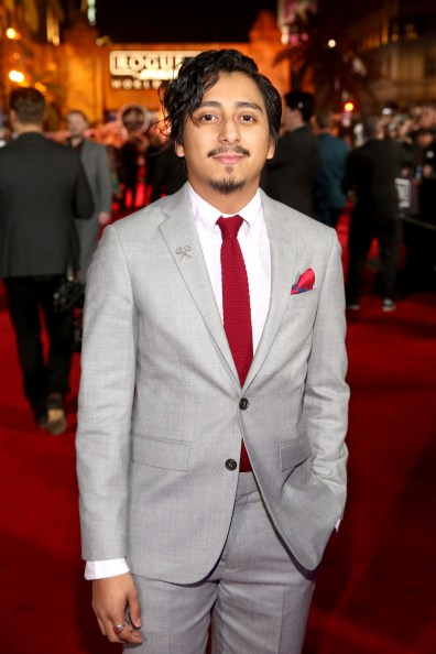 """HOLLYWOOD, CA - DECEMBER 10: Actor Tony Revolori attends The World Premiere of Lucasfilm's highly anticipated, first-ever, standalone Star Wars adventure, """"Rogue One: A Star Wars Story"""" at the Pantages Theatre on December 10, 2016 in Hollywood, California. (Photo by Jesse Grant/Getty Images for Disney) *** Local Caption *** Tony Revolori"""