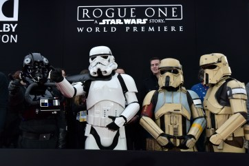 "HOLLYWOOD, CA - DECEMBER 10: A view of the atmosphere at The World Premiere of Lucasfilm's highly anticipated, first-ever, standalone Star Wars adventure, ""Rogue One: A Star Wars Story"" at the Pantages Theatre on December 10, 2016 in Hollywood, California. (Photo by Marc Flores/Getty Images for Disney)"