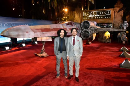 "HOLLYWOOD, CA - DECEMBER 10: Mario Revolori (L) and actor Tony Revolori attend The World Premiere of Lucasfilm's highly anticipated, first-ever, standalone Star Wars adventure, ""Rogue One: A Star Wars Story"" at the Pantages Theatre on December 10, 2016 in Hollywood, California. (Photo by Marc Flores/Getty Images for Disney) *** Local Caption *** Tony Revolori; Mario Revolori"