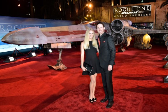"HOLLYWOOD, CA - DECEMBER 10: Actress Carly Schroeder (L) and guest attend The World Premiere of Lucasfilm's highly anticipated, first-ever, standalone Star Wars adventure, ""Rogue One: A Star Wars Story"" at the Pantages Theatre on December 10, 2016 in Hollywood, California. (Photo by Marc Flores/Getty Images for Disney) *** Local Caption *** Carly Schroeder"