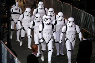 """HOLLYWOOD, CA - DECEMBER 10: A view of the atmosphere at The World Premiere of Lucasfilm's highly anticipated, first-ever, standalone Star Wars adventure, """"Rogue One: A Star Wars Story"""" at the Pantages Theatre on December 10, 2016 in Hollywood, California. (Photo by Rich Polk/Getty Images for Disney)"""