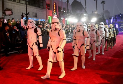 "HOLLYWOOD, CA - DECEMBER 10: A view of the atmosphere at The World Premiere of Lucasfilm's highly anticipated, first-ever, standalone Star Wars adventure, ""Rogue One: A Star Wars Story"" at the Pantages Theatre on December 10, 2016 in Hollywood, California. (Photo by Jesse Grant/Getty Images for Disney)"