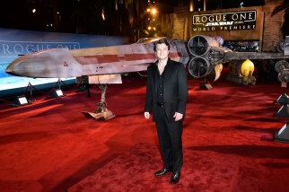 """HOLLYWOOD, CA - DECEMBER 10: Actor Nathan Fillion attends The World Premiere of Lucasfilm's highly anticipated, first-ever, standalone Star Wars adventure, """"Rogue One: A Star Wars Story"""" at the Pantages Theatre on December 10, 2016 in Hollywood, California. (Photo by Marc Flores/Getty Images for Disney) *** Local Caption *** Nathan Fillion"""