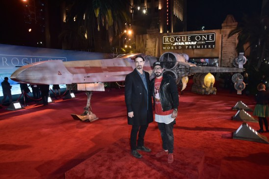 """HOLLYWOOD, CA - DECEMBER 10: Singers Kevin Richardson and A. J. McLean of the Backstreet Boys attends The World Premiere of Lucasfilm's highly anticipated, first-ever, standalone Star Wars adventure, """"Rogue One: A Star Wars Story"""" at the Pantages Theatre on December 10, 2016 in Hollywood, California. (Photo by Marc Flores/Getty Images for Disney) *** Local Caption *** Kevin Richardson; A. J. McLean"""