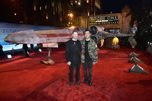 "HOLLYWOOD, CA - DECEMBER 10: Musicians Andy Hurley (L) and Pete Wentz of Fall Out Boy attend The World Premiere of Lucasfilm's highly anticipated, first-ever, standalone Star Wars adventure, ""Rogue One: A Star Wars Story"" at the Pantages Theatre on December 10, 2016 in Hollywood, California. (Photo by Marc Flores/Getty Images for Disney) *** Local Caption *** Andy Hurley; Pete Wentz"