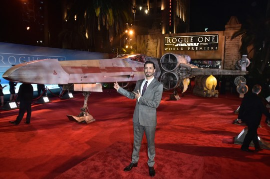 """HOLLYWOOD, CA - DECEMBER 10: Actor Riz Ahmed attends The World Premiere of Lucasfilm's highly anticipated, first-ever, standalone Star Wars adventure, """"Rogue One: A Star Wars Story"""" at the Pantages Theatre on December 10, 2016 in Hollywood, California. (Photo by Marc Flores/Getty Images for Disney) *** Local Caption *** Riz Ahmed"""