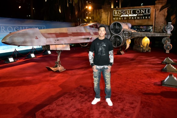 "HOLLYWOOD, CA - DECEMBER 10: Actor Marcus Scribner attends The World Premiere of Lucasfilm's highly anticipated, first-ever, standalone Star Wars adventure, ""Rogue One: A Star Wars Story"" at the Pantages Theatre on December 10, 2016 in Hollywood, California. (Photo by Marc Flores/Getty Images for Disney) *** Local Caption *** Marcus Scribner"