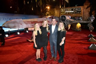 """HOLLYWOOD, CA - DECEMBER 10: Mayor Eric Garcetti (3rd L) and family attend The World Premiere of Lucasfilm's highly anticipated, first-ever, standalone Star Wars adventure, """"Rogue One: A Star Wars Story"""" at the Pantages Theatre on December 10, 2016 in Hollywood, California. (Photo by Marc Flores/Getty Images for Disney) *** Local Caption *** Eric Garcetti"""