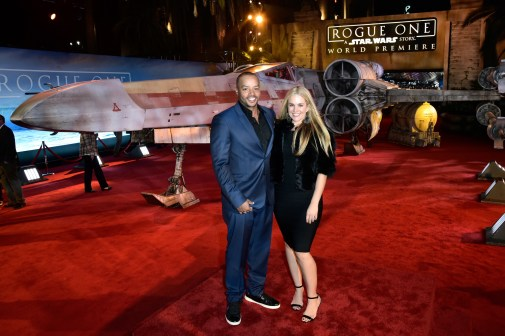 """HOLLYWOOD, CA - DECEMBER 10: Actor Donald Faison (L) and CaCee Cobb attend The World Premiere of Lucasfilm's highly anticipated, first-ever, standalone Star Wars adventure, """"Rogue One: A Star Wars Story"""" at the Pantages Theatre on December 10, 2016 in Hollywood, California. (Photo by Marc Flores/Getty Images for Disney) *** Local Caption *** Donald Faison; CaCee Cobb"""