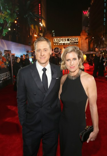 """HOLLYWOOD, CA - DECEMBER 10: Actor Alan Tudyk and choreographer Charissa Barton attend The World Premiere of Lucasfilm's highly anticipated, first-ever, standalone Star Wars adventure, """"Rogue One: A Star Wars Story"""" at the Pantages Theatre on December 10, 2016 in Hollywood, California. (Photo by Jesse Grant/Getty Images for Disney) *** Local Caption *** Alan Tudyk; Charissa Barton"""