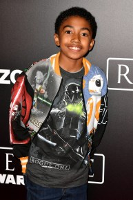 """HOLLYWOOD, CA - DECEMBER 10: Actor Miles Brown attends The World Premiere of Lucasfilm's highly anticipated, first-ever, standalone Star Wars adventure, """"Rogue One: A Star Wars Story"""" at the Pantages Theatre on December 10, 2016 in Hollywood, California. (Photo by Earl Gibson III/Getty Images for Disney) *** Local Caption *** Miles Brown"""
