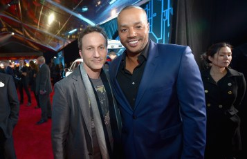 "HOLLYWOOD, CA - DECEMBER 10: Actors Breckin Meyer (L) and Donald Faison attend The World Premiere of Lucasfilm's highly anticipated, first-ever, standalone Star Wars adventure, ""Rogue One: A Star Wars Story"" at the Pantages Theatre on December 10, 2016 in Hollywood, California. (Photo by Charley Gallay/Getty Images for Disney) *** Local Caption *** Breckin Meyer; Donald Faison"
