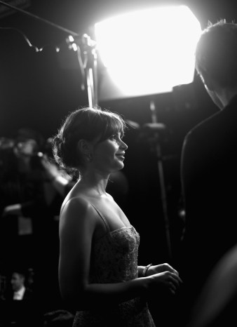 """HOLLYWOOD, CA - DECEMBER 10: (EDITORS NOTE: Image has been shot in black and white. Color version not available.) Actress Felicity Jones attends The World Premiere of Lucasfilm's highly anticipated, first-ever, standalone Star Wars adventure, """"Rogue One: A Star Wars Story"""" at the Pantages Theatre on December 10, 2016 in Hollywood, California. (Photo by Charley Gallay/Getty Images for Disney) *** Local Caption *** Felicity Jones"""