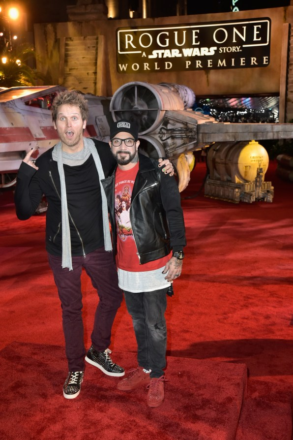 """HOLLYWOOD, CA - DECEMBER 10: Mark Adler (L) and singer A. J. McLean attend The World Premiere of Lucasfilm's highly anticipated, first-ever, standalone Star Wars adventure, """"Rogue One: A Star Wars Story"""" at the Pantages Theatre on December 10, 2016 in Hollywood, California. (Photo by Marc Flores/Getty Images for Disney) *** Local Caption *** Mark Adler; A. J. McLean"""