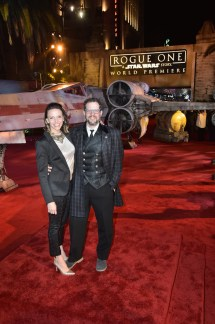 """HOLLYWOOD, CA - DECEMBER 10: Andrea Datzman (L) and composer Michael Giacchino attend The World Premiere of Lucasfilm's highly anticipated, first-ever, standalone Star Wars adventure, """"Rogue One: A Star Wars Story"""" at the Pantages Theatre on December 10, 2016 in Hollywood, California. (Photo by Marc Flores/Getty Images for Disney) *** Local Caption *** Andrea Datzman; Michael Giacchino"""