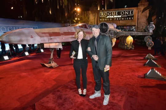 "HOLLYWOOD, CA - DECEMBER 10: President of Marvel Studios Kevin Feige (R) and Caitlin Feige attend The World Premiere of Lucasfilm's highly anticipated, first-ever, standalone Star Wars adventure, ""Rogue One: A Star Wars Story"" at the Pantages Theatre on December 10, 2016 in Hollywood, California. (Photo by Marc Flores/Getty Images for Disney) *** Local Caption *** Kevin Feige; Caitlin Feige"