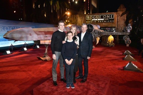 "HOLLYWOOD, CA - DECEMBER 10: The Walt Disney Company Chairman and CEO Bob Iger (R), Willow Bay and family attend The World Premiere of Lucasfilm's highly anticipated, first-ever, standalone Star Wars adventure, ""Rogue One: A Star Wars Story"" at the Pantages Theatre on December 10, 2016 in Hollywood, California. (Photo by Marc Flores/Getty Images for Disney) *** Local Caption *** Bob Iger; Willow Bay"