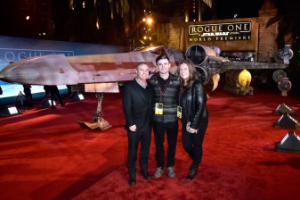 "HOLLYWOOD, CA - DECEMBER 10: Walt Disney Studios President Alan Bergman (L) and family attend The World Premiere of Lucasfilm's highly anticipated, first-ever, standalone Star Wars adventure, ""Rogue One: A Star Wars Story"" at the Pantages Theatre on December 10, 2016 in Hollywood, California. (Photo by Marc Flores/Getty Images for Disney) *** Local Caption *** Alan Bergman"