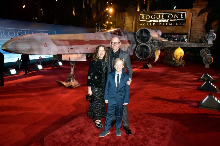 "HOLLYWOOD, CA - DECEMBER 10: Producer Allison Shearmur (L) and family attend The World Premiere of Lucasfilm's highly anticipated, first-ever, standalone Star Wars adventure, ""Rogue One: A Star Wars Story"" at the Pantages Theatre on December 10, 2016 in Hollywood, California. (Photo by Marc Flores/Getty Images for Disney) *** Local Caption *** Allison Shearmur"