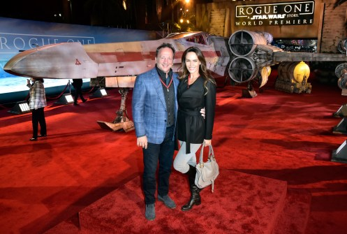 """HOLLYWOOD, CA - DECEMBER 10: Executive producer of Marvel Louis D'Esposito (L) and guest attend The World Premiere of Lucasfilm's highly anticipated, first-ever, standalone Star Wars adventure, """"Rogue One: A Star Wars Story"""" at the Pantages Theatre on December 10, 2016 in Hollywood, California. (Photo by Marc Flores/Getty Images for Disney) *** Local Caption *** Louis D'Esposito"""