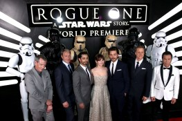 """HOLLYWOOD, CA - DECEMBER 10: (L-R) Actors Ben Mendelsohn, Mads Mikkelsen, Riz Ahmed, Felicity Jones, Diego Luna, Alan Tudyk and Donnie Yen attend The World Premiere of Lucasfilm's highly anticipated, first-ever, standalone Star Wars adventure, """"Rogue One: A Star Wars Story"""" at the Pantages Theatre on December 10, 2016 in Hollywood, California. (Photo by Joe Scarnici/Getty Images for Disney) *** Local Caption *** Ben Mendelsohn; Mads Mikkelsen; Riz Ahmed; Felicity Jones; Diego Luna; Alan Tudyk; Donnie Yen"""