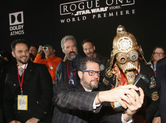 """HOLLYWOOD, CA - DECEMBER 10: Composer Michael Giacchino (L) poses for a selfie with Christopher 'Dude Vader' Canole at The World Premiere of Lucasfilm's highly anticipated, first-ever, standalone Star Wars adventure, """"Rogue One: A Star Wars Story"""" at the Pantages Theatre on December 10, 2016 in Hollywood, California. (Photo by Jesse Grant/Getty Images for Disney) *** Local Caption *** Michael Giacchino; Christopher Canole"""