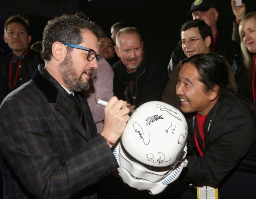 "HOLLYWOOD, CA - DECEMBER 10: Composer Michael Giacchino attends The World Premiere of Lucasfilm's highly anticipated, first-ever, standalone Star Wars adventure, ""Rogue One: A Star Wars Story"" at the Pantages Theatre on December 10, 2016 in Hollywood, California. (Photo by Jesse Grant/Getty Images for Disney) *** Local Caption *** Michael Giacchino"