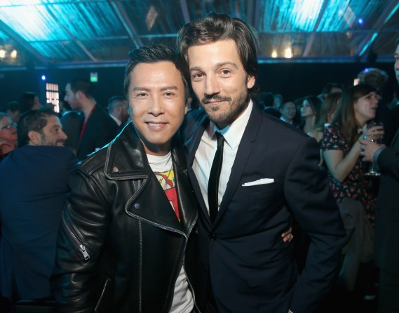 """HOLLYWOOD, CA - DECEMBER 10: Actors Donnie Yen (L) and Diego Luna attend The World Premiere of Lucasfilm's highly anticipated, first-ever, standalone Star Wars adventure, """"Rogue One: A Star Wars Story"""" at the Pantages Theatre on December 10, 2016 in Hollywood, California. (Photo by Jesse Grant/Getty Images for Disney) *** Local Caption *** Donnie Yen; Diego Luna"""