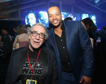 """HOLLYWOOD, CA - DECEMBER 10: Actors Peter Mayhew (L) and Donald Faison attend The World Premiere of Lucasfilm's highly anticipated, first-ever, standalone Star Wars adventure, """"Rogue One: A Star Wars Story"""" at the Pantages Theatre on December 10, 2016 in Hollywood, California. (Photo by Jesse Grant/Getty Images for Disney) *** Local Caption *** Peter Mayhew; Donald Faison"""