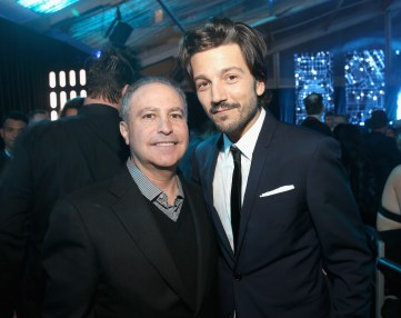 "HOLLYWOOD, CA - DECEMBER 10: Walt Disney Studios President Alan Bergman (L) and actor Diego Luna attend The World Premiere of Lucasfilm's highly anticipated, first-ever, standalone Star Wars adventure, ""Rogue One: A Star Wars Story"" at the Pantages Theatre on December 10, 2016 in Hollywood, California. (Photo by Jesse Grant/Getty Images for Disney) *** Local Caption *** Alan Bergman; Diego Luna"