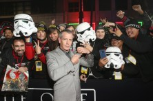 """HOLLYWOOD, CA - DECEMBER 10: Actor Ben Mendelsohn takes a selfie with fans at The World Premiere of Lucasfilm's highly anticipated, first-ever, standalone Star Wars adventure, """"Rogue One: A Star Wars Story"""" at the Pantages Theatre on December 10, 2016 in Hollywood, California. (Photo by Jesse Grant/Getty Images for Disney) *** Local Caption *** Ben Mendelsohn"""