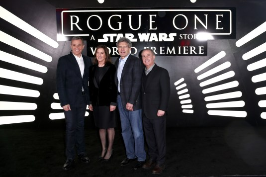"HOLLYWOOD, CA - DECEMBER 10: (L-R) The Walt Disney Company Chairman and CEO Bob Iger, producer Kathleen Kennedy, The Walt Disney Studios Chairman Alan Horn, and The Walt Disney Studios President Alan Bergman attend The World Premiere of Lucasfilm's highly anticipated, first-ever, standalone Star Wars adventure, ""Rogue One: A Star Wars Story"" at the Pantages Theatre on December 10, 2016 in Hollywood, California. (Photo by Joe Scarnici/Getty Images for Disney) *** Local Caption *** Bob Iger; Kathleen Kennedy; Alan Horn; Alan Bergman"