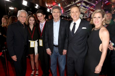 """HOLLYWOOD, CA - DECEMBER 10: (L-R) Actor Michael Douglas and guests, The Walt Disney Studios Chairman Alan Horn, actor Alan Tudyk, and choreographer Charissa Barton attend The World Premiere of Lucasfilm's highly anticipated, first-ever, standalone Star Wars adventure, """"Rogue One: A Star Wars Story"""" at the Pantages Theatre on December 10, 2016 in Hollywood, California. (Photo by Joe Scarnici/Getty Images for Disney) *** Local Caption *** Michael Douglas; Alan Horn; Alan Tudyk; Charissa Barton"""