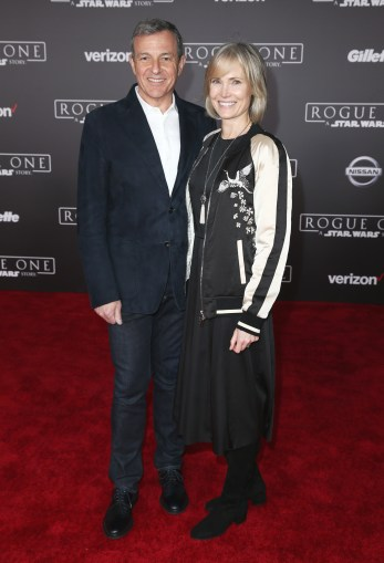 "HOLLYWOOD, CA - DECEMBER 10: The Walt Disney Company Chairman/CEO Bob Iger (L) and journalist Willow Bay attend The World Premiere of Lucasfilm's highly anticipated, first-ever, standalone Star Wars adventure, ""Rogue One: A Star Wars Story"" at the Pantages Theatre on December 10, 2016 in Hollywood, California. (Photo by Joe Scarnici/Getty Images for Disney) *** Local Caption *** Bob Iger; Willow Bay"