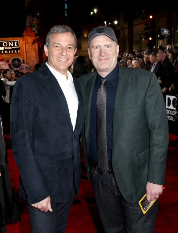 """HOLLYWOOD, CA - DECEMBER 10: The Walt Disney Company Chairman/CEO Bob Iger (L) and Marvel Studios President Kevin Feige attend The World Premiere of Lucasfilm's highly anticipated, first-ever, standalone Star Wars adventure, """"Rogue One: A Star Wars Story"""" at the Pantages Theatre on December 10, 2016 in Hollywood, California. (Photo by Joe Scarnici/Getty Images for Disney) *** Local Caption *** Bob Iger; Kevin Feige"""