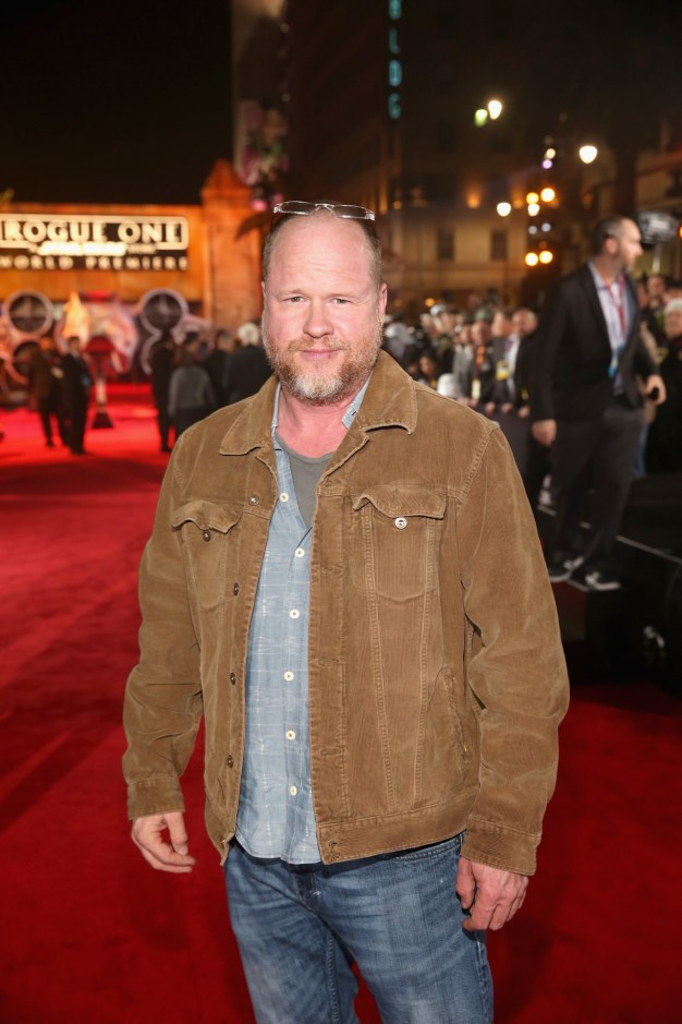 "HOLLYWOOD, CA - DECEMBER 10: Director Joss Whedon attends The World Premiere of Lucasfilm's highly anticipated, first-ever, standalone Star Wars adventure, ""Rogue One: A Star Wars Story"" at the Pantages Theatre on December 10, 2016 in Hollywood, California. (Photo by Jesse Grant/Getty Images for Disney) *** Local Caption *** Joss Whedon"