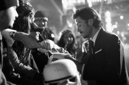 "HOLLYWOOD, CA - DECEMBER 10: (EDITORS NOTE: Image has been shot in black and white. Color version not available.) Actor Diego Luna signs autographs for fans at The World Premiere of Lucasfilm's highly anticipated, first-ever, standalone Star Wars adventure, ""Rogue One: A Star Wars Story"" at the Pantages Theatre on December 10, 2016 in Hollywood, California. (Photo by Charley Gallay/Getty Images for Disney) *** Local Caption *** Diego Luna"