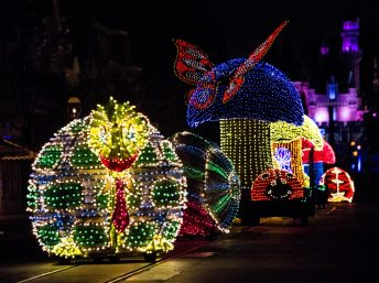 A COLORFUL HOMECOMING Ð Jittering insects light up the parade route in beautiful, bright colors during the Main Street Electrical Parade at Disneyland park. The Main Street Electrical Parade will run for a limited-time, through June 18, 2017, at Disneyland park. (Scott Brinegar/Disneyland)