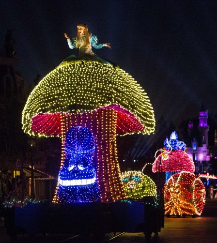 A COLORFUL HOMECOMING Ð Beloved characters from the classic 1951 Disney film ÒAlice in Wonderland,Ó including Alice and the Caterpillar aboard illuminated mushroom floats, entertain guests during the Main Street Electrical Parade at Disneyland Park. The Main Street Electrical Parade will run for a limited-time, through June 18, 2017, at Disneyland park. (Scott Brinegar/Disneyland)