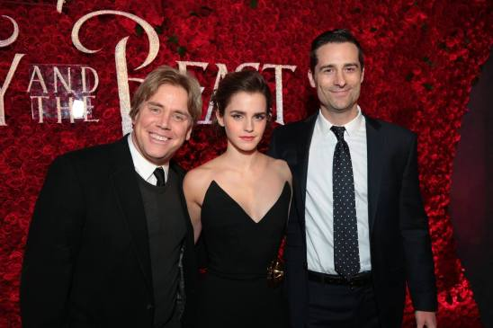 "Stephen Chbosky, Emma Watson and Todd Lieberman arrive for the world premiere of Disney's live-action ""Beauty and the Beast"" at the El Capitan Theatre in Hollywood as the cast and filmmakers continue their worldwide publicity tour. (Photo: Alex J. Berliner/ABImages)"