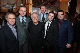 "Alan Bergman, Shawn Bailey, Alan Menken, Luke Evans, Greg Yolen and Josh Gad arrive for the world premiere of Disney's live-action ""Beauty and the Beast"" at the El Capitan Theatre in Hollywood as the cast and filmmakers continue their worldwide publicity tour. (Photo: Alex J. Berliner/ABImages)"