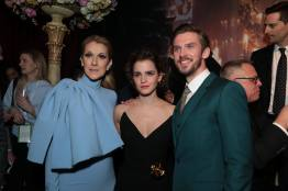"Celine Dion, Emma Watson and Dan Stevens arrive for the world premiere of Disney's live-action ""Beauty and the Beast"" at the El Capitan Theatre in Hollywood as the cast and filmmakers continue their worldwide publicity tour. (Photo: Alex J. Berliner/ABImages)"