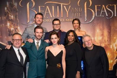 """Luke Evans, Josh Gad, Gugu Mbatha-Raw, Bill Condon, Dan Stevens, Emma Watson, Audra McDonald and Alan Menken arrive for the world premiere of Disney's live-action """"Beauty and the Beast"""" at the El Capitan Theatre in Hollywood as the cast and filmmakers continue their worldwide publicity tour. .(Photo: Alex J. Berliner/ABImages)"""