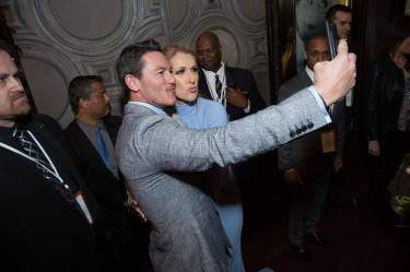 """Luke Evans and Celine Dion arrive for the world premiere of Disney's live-action """"Beauty and the Beast"""" at the El Capitan Theatre in Hollywood as the cast and filmmakers continue their worldwide publicity tour. .(Photo: Alex J. Berliner/ABImages)"""
