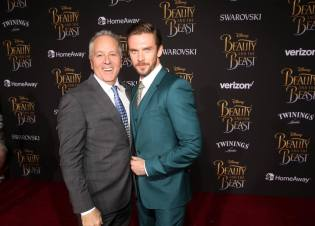 """LOS ANGELES, CA - MARCH 02: Producer David Hoberman (L) and actor Dan Stevens arrive for the world premiere of Disney's live-action """"Beauty and the Beast"""" at the El Capitan Theatre in Hollywood as the cast and filmmakers continue their worldwide publicity tour on March 2, 2017 in Los Angeles, California. (Photo by Jesse Grant/Getty Images for Disney) *** Local Caption *** David Hoberman; Dan Stevens"""