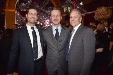 """LOS ANGELES, CA - MARCH 02: (L-R) Producer Todd Lieberman, President of Walt Disney Studios Motion Picture Production, Sean Bailey and Producer David Hoberman arrive for the world premiere of Disney's live-action """"Beauty and the Beast"""" at the El Capitan Theatre in Hollywood as the cast and filmmakers continue their worldwide publicity tour on March 2, 2017 in Los Angeles, California. (Photo by Alberto E. Rodriguez/Getty Images for Disney) *** Local Caption *** Todd Lieberman; Sean Bailey; David Hoberman"""