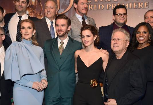 """LOS ANGELES, CA - MARCH 02: (L-R top) Producer Todd Lieberman, Producer David Hoberman, actors Luke Evans, Josh Gad and Walt Disney Studios President Alan Bergman (L-R bottom) Singer Celine Dion, actors Dan Stevens, Emma Watson, Composer Alan Menken and actor Audra McDonald arrive for the world premiere of Disney's live-action """"Beauty and the Beast"""" at the El Capitan Theatre in Hollywood as the cast and filmmakers continue their worldwide publicity tour on March 2, 2017 in Los Angeles, California. (Photo by Alberto E. Rodriguez/Getty Images for Disney) *** Local Caption *** Todd Lieberman; David Hoberman; Luke Evans; Josh Gad; Alan Bergman; Celine Dion; Dan Stevens; Emma Watson; Alan Menken; Audra McDonald"""