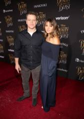"""LOS ANGELES, CA - MARCH 02: Actor Matt Damon (L) and Luciana Barroso arrive for the world premiere of Disney's live-action """"Beauty and the Beast"""" at the El Capitan Theatre in Hollywood as the cast and filmmakers continue their worldwide publicity tour on March 2, 2017 in Los Angeles, California. (Photo by Jesse Grant/Getty Images for Disney) *** Local Caption *** Matt Damon; Luciana Barroso"""