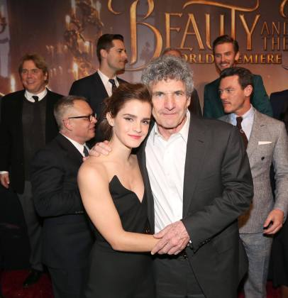 "LOS ANGELES, CA - MARCH 02: Actress Emma Watson and Chairman, The Walt Disney Studios, Alan Horn arrive for the world premiere of Disney's live-action ""Beauty and the Beast"" at the El Capitan Theatre in Hollywood as the cast and filmmakers continue their worldwide publicity tour on March 2, 2017 in Los Angeles, California. (Photo by Jesse Grant/Getty Images for Disney) *** Local Caption *** Emma Watson; Alan Horn"