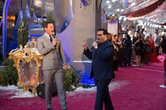 """Luke Evans, Josh Gad perform during the world premiere of Disney's live-action """"Beauty and the Beast"""" at the El Capitan Theatre in Hollywood as the cast and filmmakers continue their worldwide publicity tour. .(Photo: Alex J. Berliner/ABImages)"""